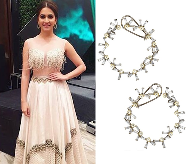 Gold Plated Polkis and Baguettes Hoops by Nepra by Neha Goel