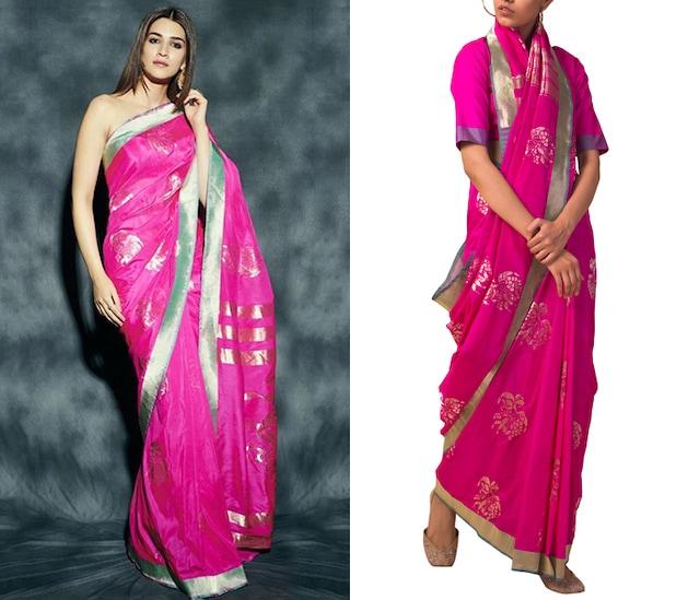 Rani Pink Handwoven Saree Set by Ekaya X Masaba