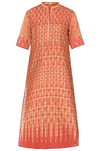 Orange Tie & Dye Printed Tunic by Krishna Mehta