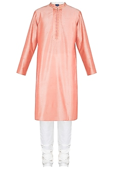 Peach Embroidered Printed Kurta With Churidar Pants by Krishna Mehta Men