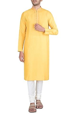Yellow Embroidered Printed Kurta With Churidar Pants by Krishna Mehta Men