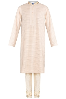 Cream Embroidered Printed Kurta With Churidar Pants by Krishna Mehta Men