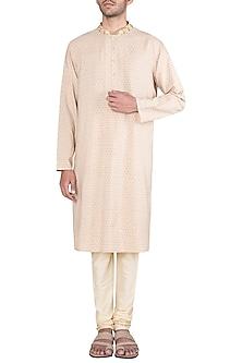 Cream Embroidered Printed Kurta With Churidar Pants by Krishna Mehta Men