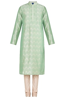 Pista Green Embroidered Printed Kurta With Churidar Pants by Krishna Mehta Men