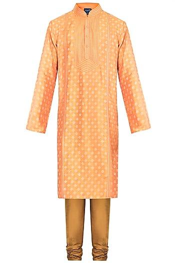 Orange Embroidered Printed Kurta With Churidar Pants by Krishna Mehta Men