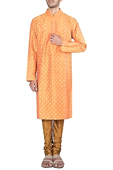 Orange Embroidered Printed Kurta With Churidar Pants by Krishna Mehta Men