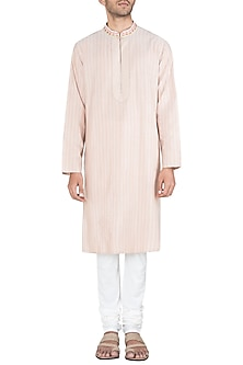 Light Pink Embroidered Printed Kurta With Churidar Pants by Krishna Mehta Men