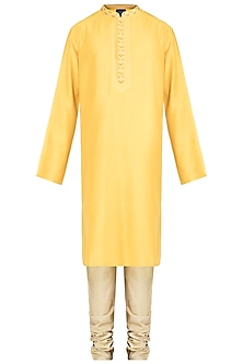 Yellow Embroidered Printed Pintuck Kurta With Churidar Pants by Krishna Mehta Men