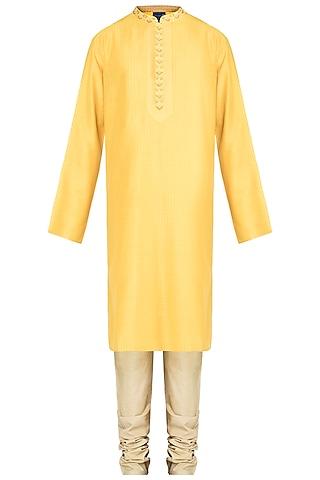 Yellow Embroidered Printed Pintuck Kurta With Churidar Pants by Krishna Mehta Men