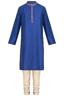 Royal Blue Embroidered Printed Kurta With Churidar Pants by Krishna Mehta Men