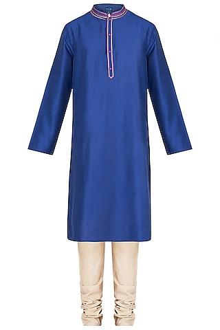 Royal Blue Embroidered Printed Kurta With Churidar Pants by Krishna Mehta Men