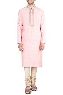Pink Embroidered Printed Kurta With Churidar Pants by Krishna Mehta Men
