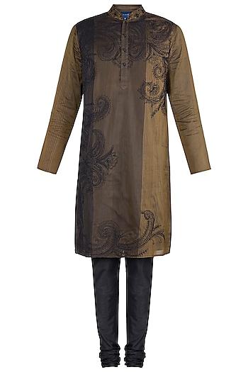 Gold Block Printed Embroidered Kurta With Churidaar Pants by Krishna Mehta Men