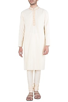 Cream Block Printed Embroidered Kurta With Churidaar Pants by Krishna Mehta Men