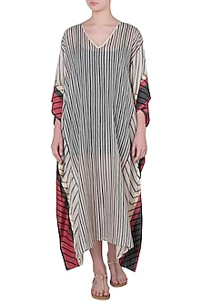 Off White Printed Kaftan Kurta by Krishna Mehta