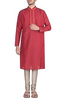 Red Block Printed Embroidered Kurta With Churidaar Pants by Krishna Mehta Men