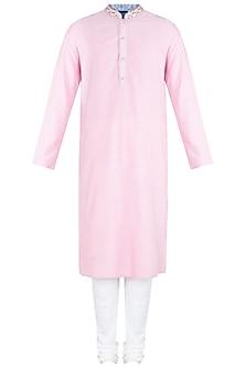 Pink Block Printed Embroidered Kurta With Churidaar Pants by Krishna Mehta Men