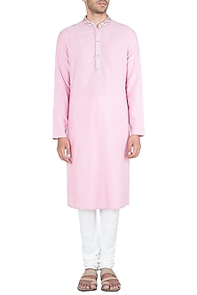 Pink Block Printed Embroidered Kurta With Churidaar Pants by Krishna Mehta Men