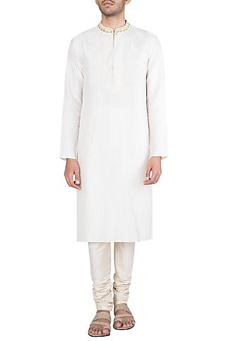 Off White Block Printed Embroidered Kurta With Churidaar Pants by Krishna Mehta Men