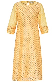 Yellow Printed Tunic by Krishna Mehta