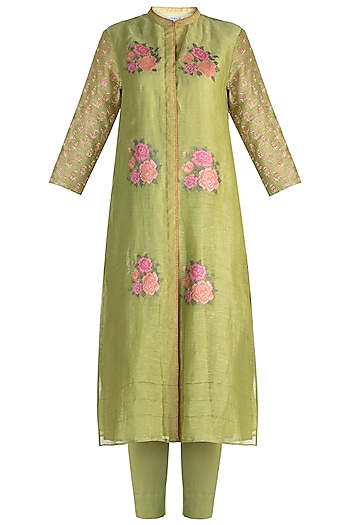 Lime Green Embroidered Tunic Set by Krishna Mehta