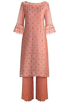 Peach Embroidered Tunic Set by Krishna Mehta