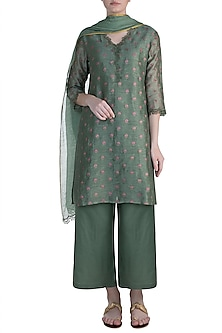 Green Embroidered Tunic Set by Krishna Mehta