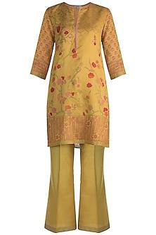 Mustard Printed Maheshwari Tunic Set by Krishna Mehta