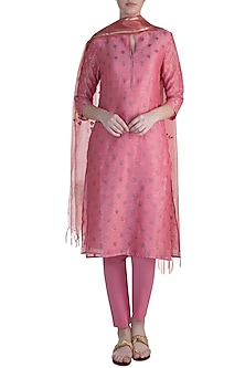 Pink Embroidered Tunic Set by Krishna Mehta