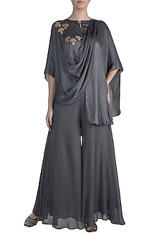 Dark Grey Embroidered Top WIth Palazzo Pants by Krishna Mehta