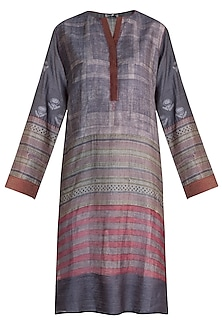 Grey Printed Tunic by Krishna Mehta