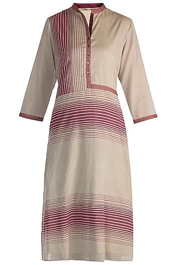 Beige Embellished Printed Tunic by Krishna Mehta