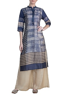 Blue Embellished Printed Silk Tunic by Krishna Mehta