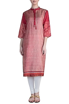 Red Embellished Printed Tunic by Krishna Mehta