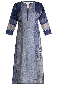 Blue Printed Embellished Silk Tunic by Krishna Mehta