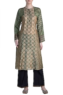 Dark Green Embroidered Printed Tunic by Krishna Mehta