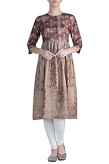 Brown Printed Tunic by Krishna Mehta