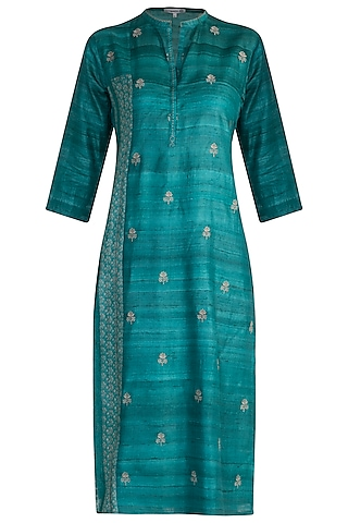 Turquoise Printed Tunic by Krishna Mehta