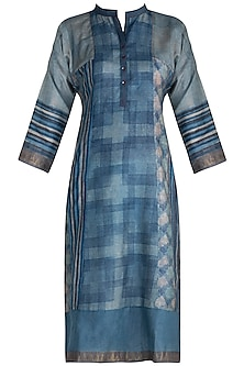 Blue Printed Tunic by Krishna Mehta
