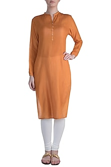 Orange Pintuck Tunic by Krishna Mehta