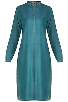 Blue Pintuck Tunic by Krishna Mehta