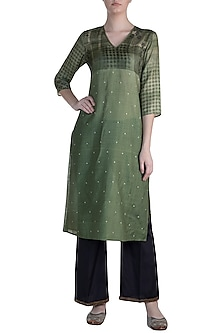 Green Printed Tunic by Krishna Mehta
