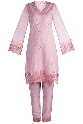 Pink Embroidered Kurta Set by Krishna Mehta