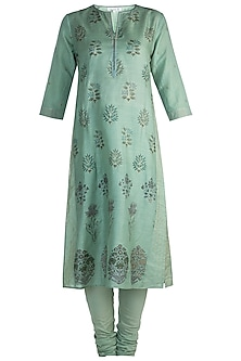 Green Printed Kurta Set by Krishna Mehta