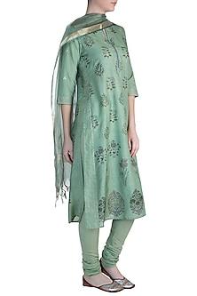 Green Printed Kurta Set by Krishna Mehta