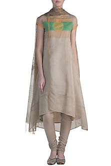 Dark Beige Embroidered Printed Kurta Set by Krishna Mehta