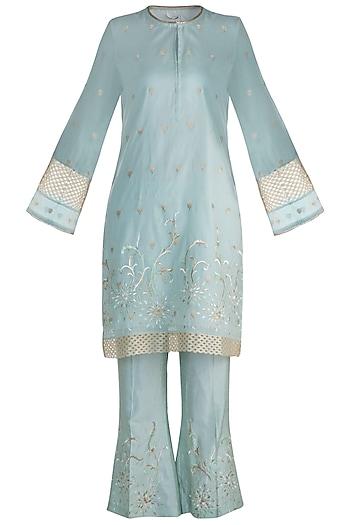 Mint Blue Embroidered Kurta Set by Krishna Mehta