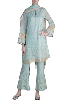 Mint Blue Embroidered Kurta Set by Krishna Mehta