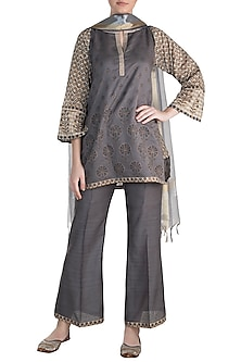 Dark Grey Printed Kurta Set by Krishna Mehta