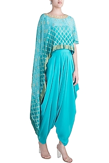 Sky Blue Embroidered Draped Top With Dhoti Pants by Krishna Mehta